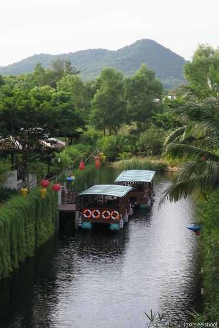 River boats providing an alternative means of transport between the Banyan Tree and Angsana resorts.