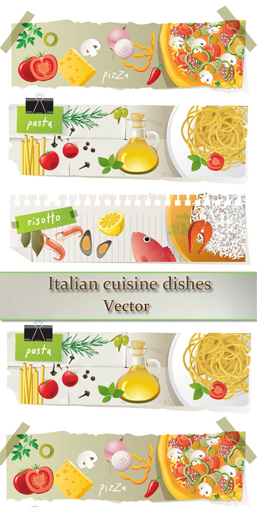 Stock: Italian cuisine dishes - banner