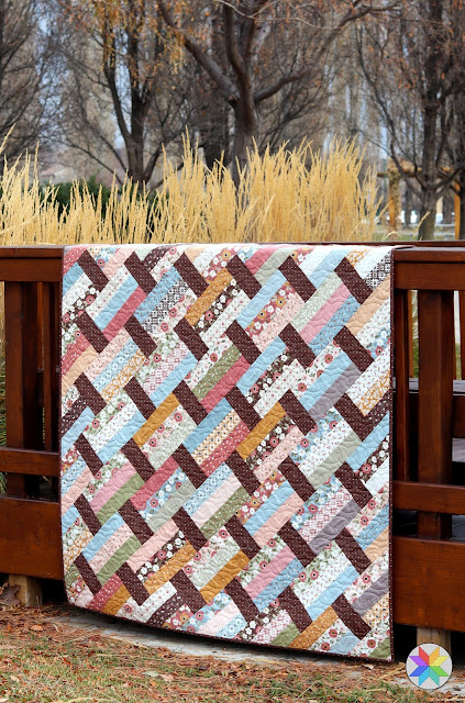 Fast Track quilt pattern by Andy of A Bright Corner - unique strip quilt that is fun and easy to make - great for beginners and uses precut fabric or yardage