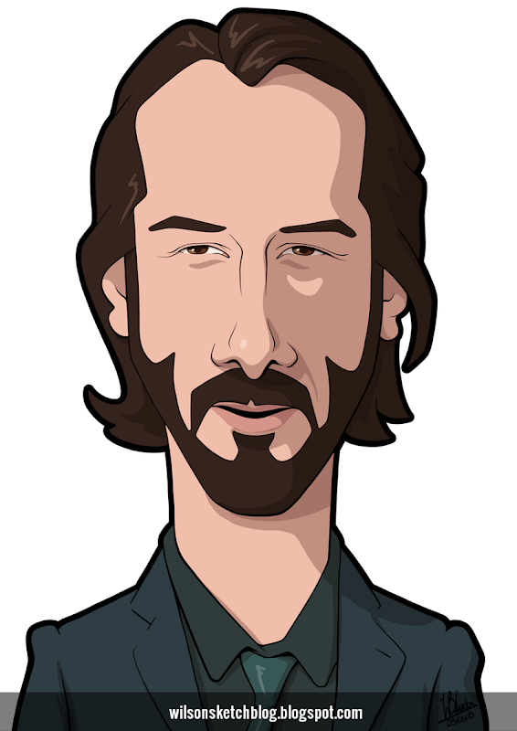 Cartoon caricature of Keanu Reeves.