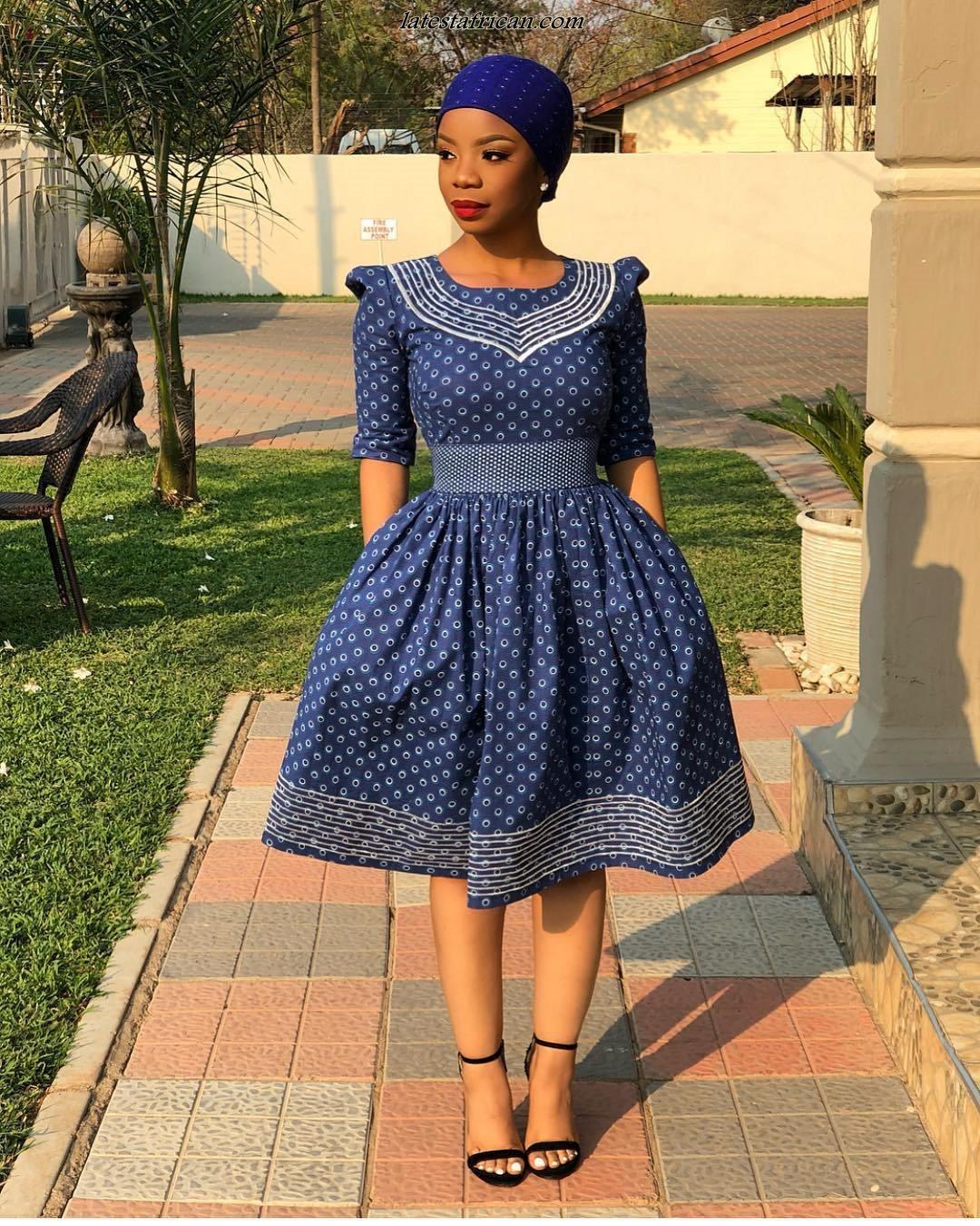 South African Shweshwe Dresses Designs 2019