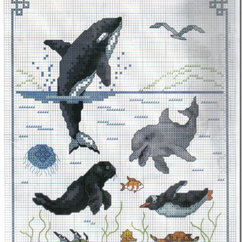 delfines y navieras gratis Patrones punto de cruz