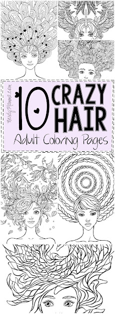 Crazy Hair Adult Coloring Pages