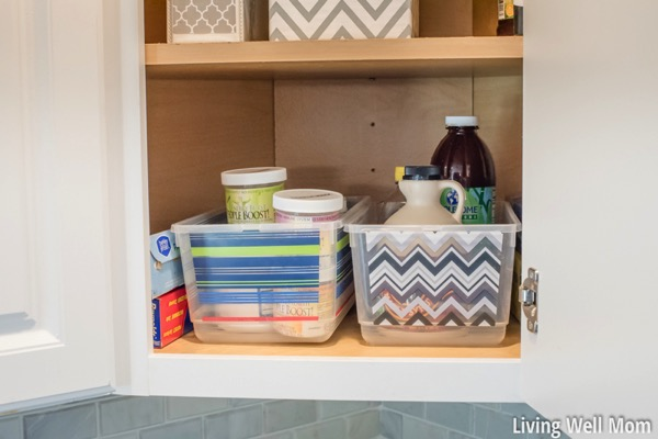 Organized corner cupboard in the kitchen