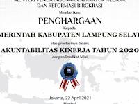 Penghargaan AKIP 2020, Pemkab Lamsel Pertahankan Predikat B