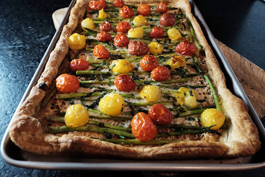 Roasted garlic, tomato and asparagus tart with Gruyere