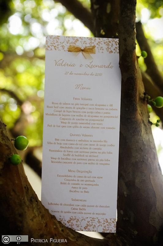 Foto de casamento 0058 de Valeria e Leonardo. Marcações: 27/11/2010, Cardapio Menu, Casamento Valeria e Leonardo, Rio de Janeiro.