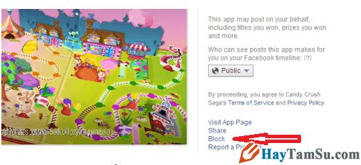 Nhấn vào BLock để chặn game Candy Crush saga