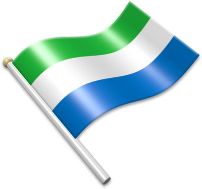 The Sierra Leonean flag on a flagpole clipart image