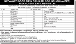 Satyawati Sood Arya Girls Senior Secondary School Delhi Advertisement 2018 www.indgovtjobs.in
