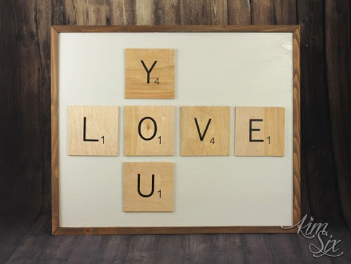 LOVE YOU Scrabble Wall Art