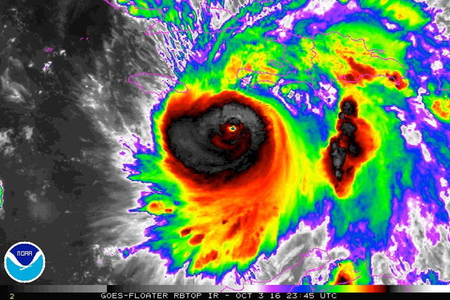 Hurricane Matthew's eye was clearly evident in this enhanced infrared satellite image from 2345Z (7:45 pm EDT) Monday, 3 October 2016. Photo: NOAA / NESDIS