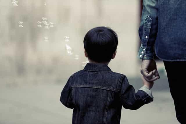boy with parent