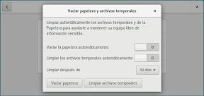 Como configurar GNOME con detalle. Configuración personal. Privacidad. Limpiar.