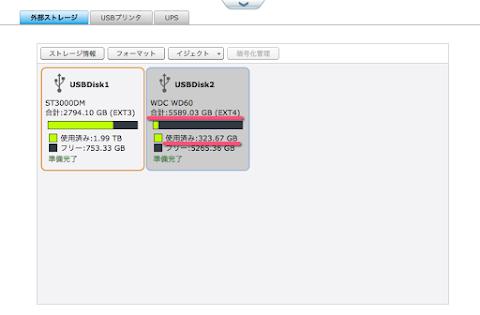 Ubuntuでext4にフォーマットしてTS-212で認識するが使用済みが多い