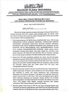 Maklumat Dewan MUI se indonesia perihal RUU HIP