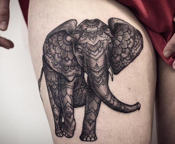 Este ornamentado elefante tatuagem