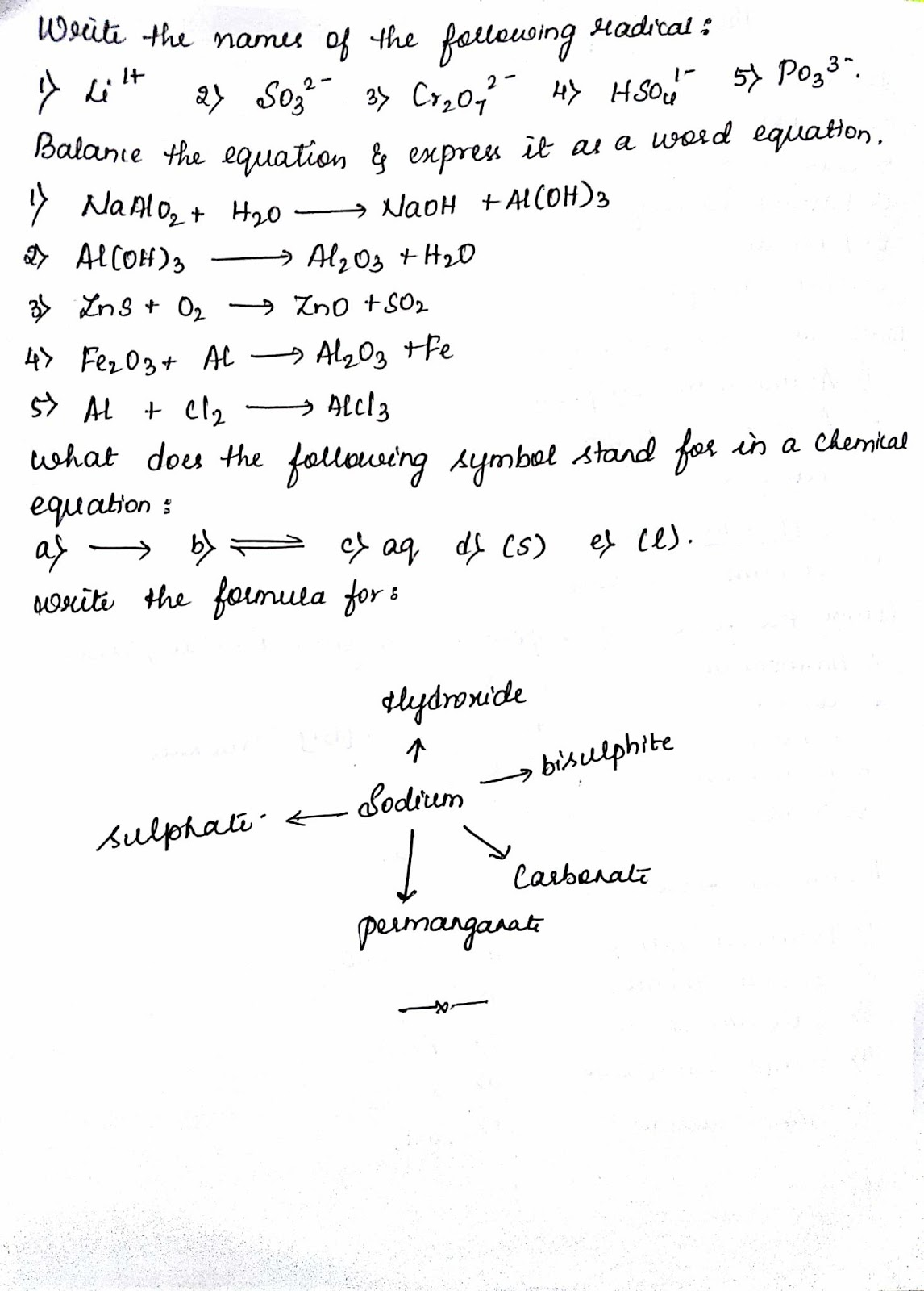 ICSE GRADE 9 language of chemistry worksheet