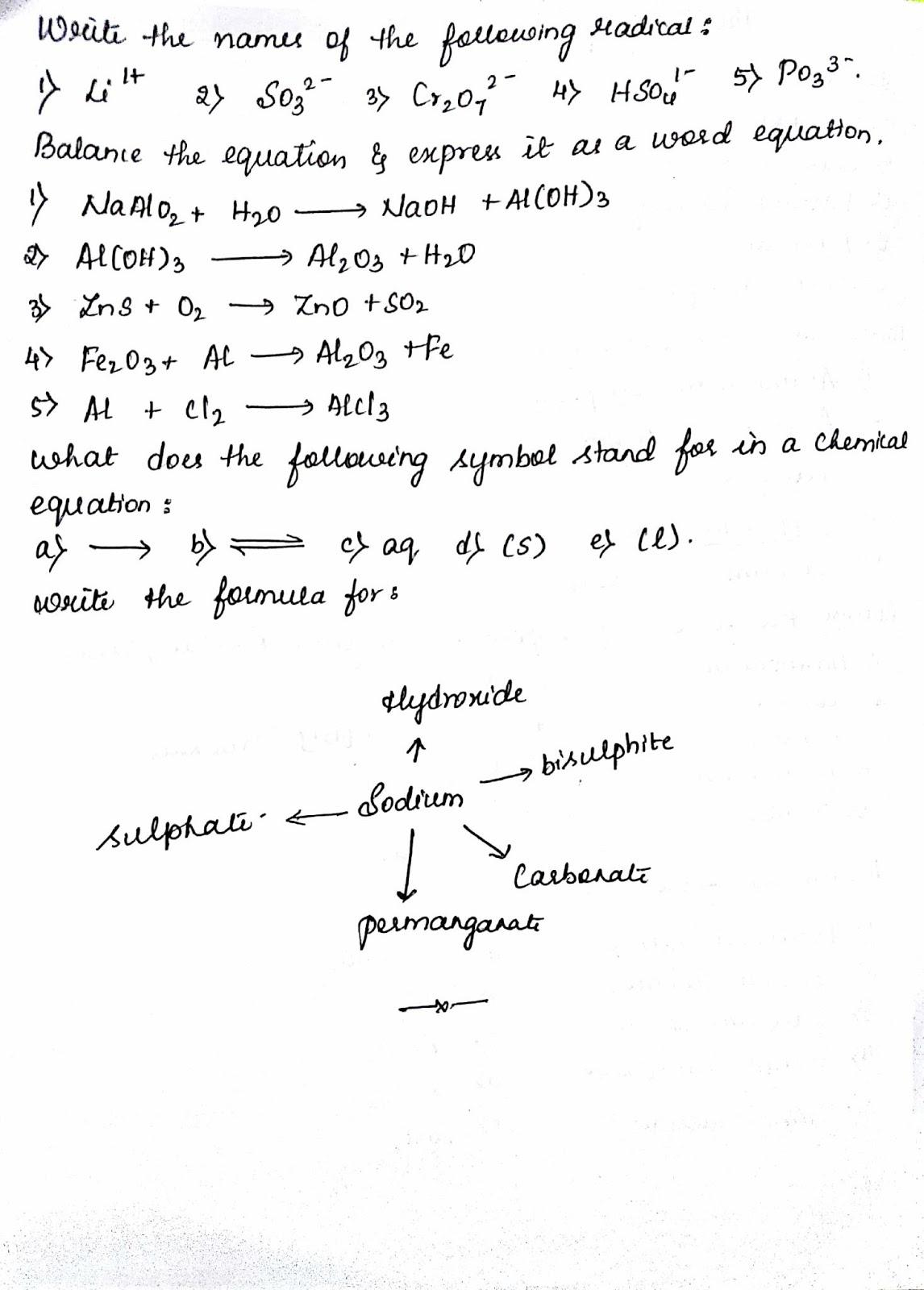 Siri's corner: ICSE GRADE 9 language of chemistry worksheet