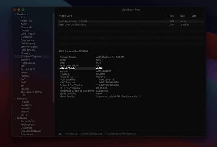 إعداد رسومات VRAM في نظام macOS.