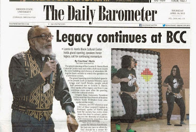 headline, 'Legacy continues at BCC,' Barometer Apr. 16, 2015, p. 1