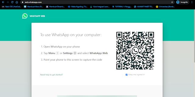 Tampilan Login Whatsapp Web