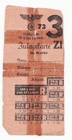 Toelagekaart (Zulagekarte) voor in Duitsland tewerkgestelde arbeider. Geldig van 19 maart 1945 tot 1 april 1945.