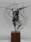 """""""Mensch"""" Glas, Schwarzlot Kupferdraht eingebrannt, 2006/09"""