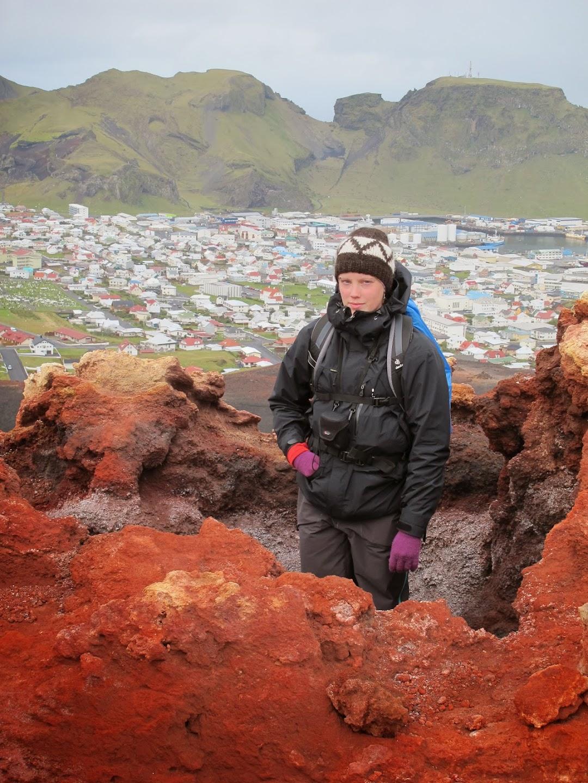 Johanna on top of Eldfell.