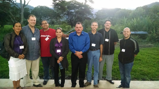 Steps from the jungle with missionaries dedicated to reaching the unreached: (L to R) Marta Henao, Jason Roberts, Samuel Rodríguez, Ceila Escobar, Cruz Velazquez, Efrain Figueroa, andPablo Arciniegas