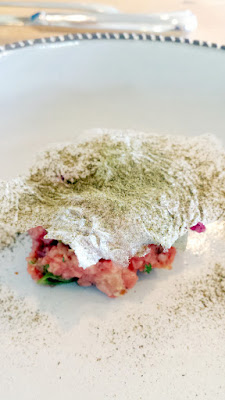 Willow PDX Third Course of Short Rib Tartare with house cured mackerel, daikon, ginger, cilantro with onion ash and rice chip on April 30, 2016