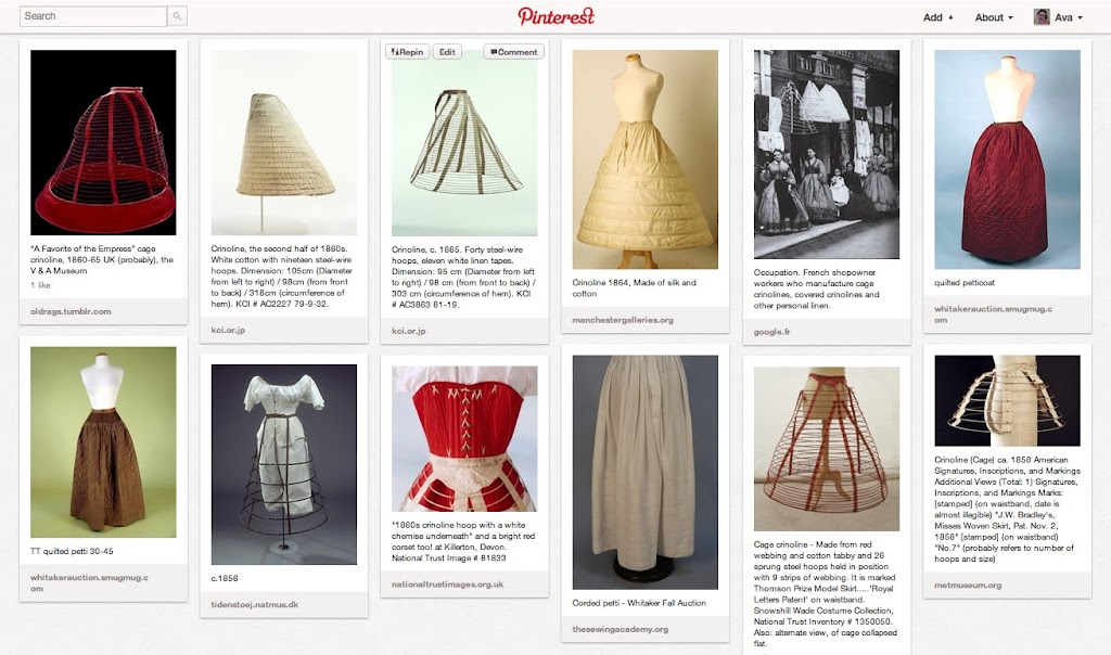d0502e58c2 My Pinterest Board for Mid 19th Century Skirt Supports