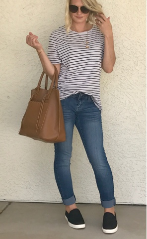 Thrifty Wife, Happy Life || Jeans, Stripe t-shirt and black slip on's