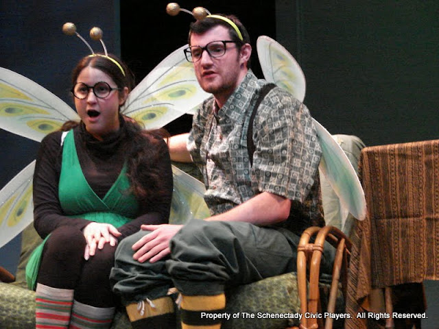 """Jennifer Van Iderstyne and Paul Dederick in """"Time Flies"""" as part of THE IVES HAVE IT - January/February 2012.  Property of The Schenectady Civic Players Theater Archive."""