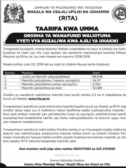 PUBLIC NOTICE ANNOUNCED BY REGISTRATION INSOLVENCY AND TRUSTEESHIP AGENCY (RITA) TO HESLB  LOAN APPLICANT.