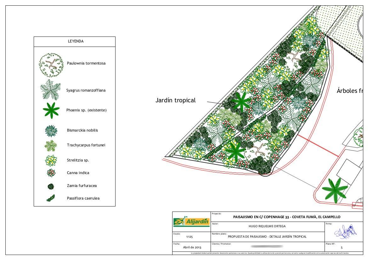 Proyecto de paisajismo en el campello alicante for Planos de jardines