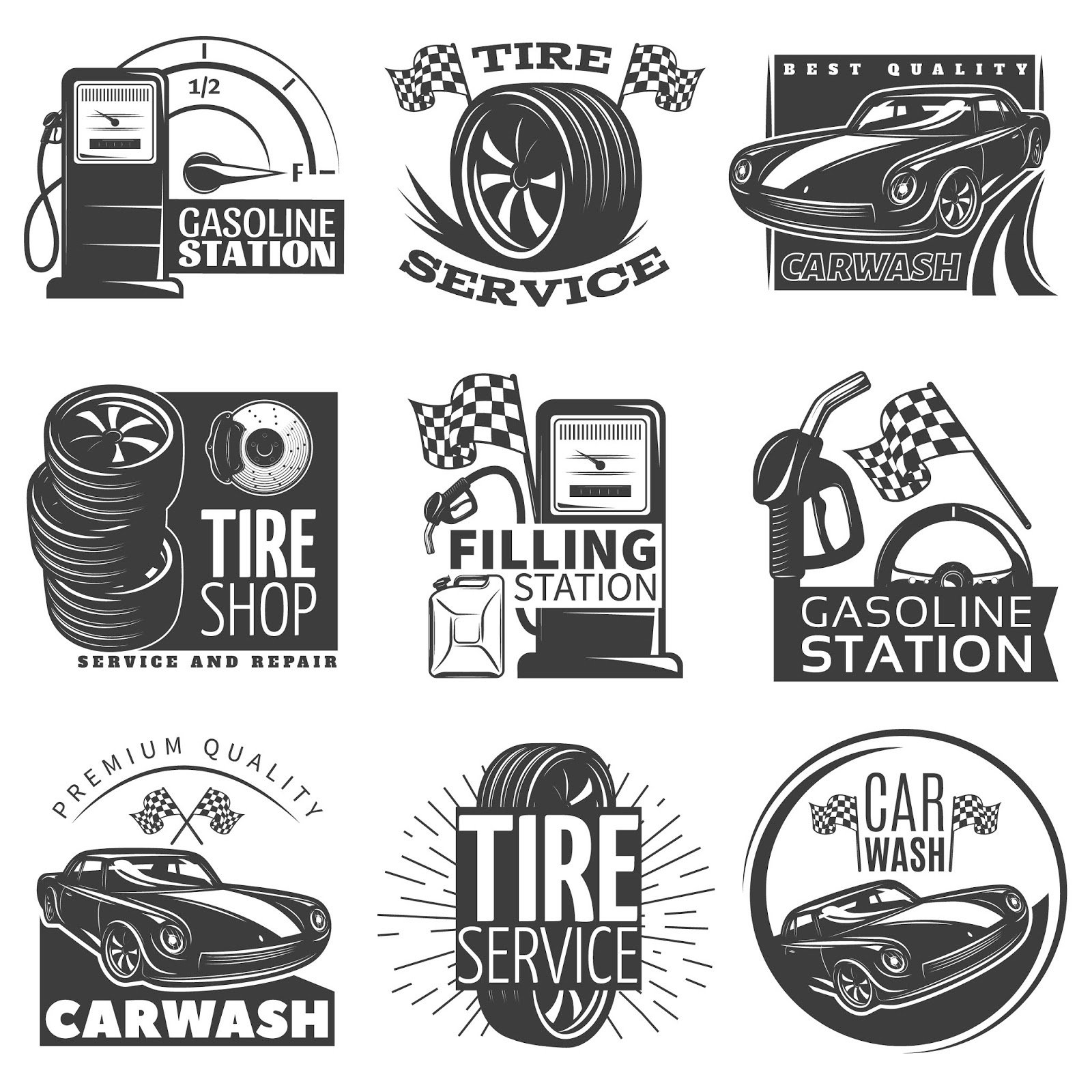 Car Service Black Emblem	 Free Download Vector CDR, AI, EPS and PNG Formats