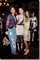 HOLLYWOOD, CA - MARCH 30:  Actor Rowan Blanchard (C) and actors/singers Chloe Bailey (L) and Halle Bailey attend the Coach & Rodarte celebration for their Spring 2017 Collaboration at Musso & Frank on March 30, 2017 in Hollywood, California  (Photo by Donato Sardella/Getty Images for Coach)
