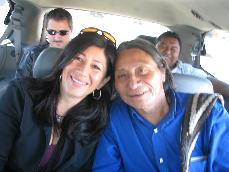 Amazon Watch ED Atossa Soltani with Berito Cobaría, upon arrival in San Francisco. From U'wa territory in northeastern Colombia, the U'wa had to travel 14 hours by bus, lay-over in Bogotá to receive their visas, and then travel another 12 hours by plane.