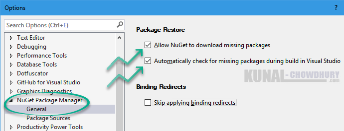 How to allow NuGet to download missing packages in Visual Studio 2015 (www.kunal-chowdhury.com)