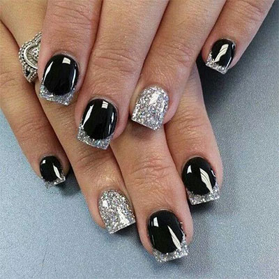 Cute Black Silver Gel Nail Art Ideas Nails C