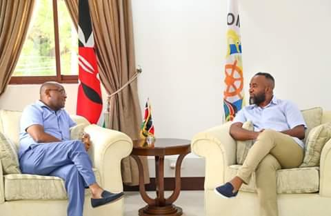 Mombasa Governor Ali Joho with Taita Taveta Governor Granton Samboja. PHOTO   BNC