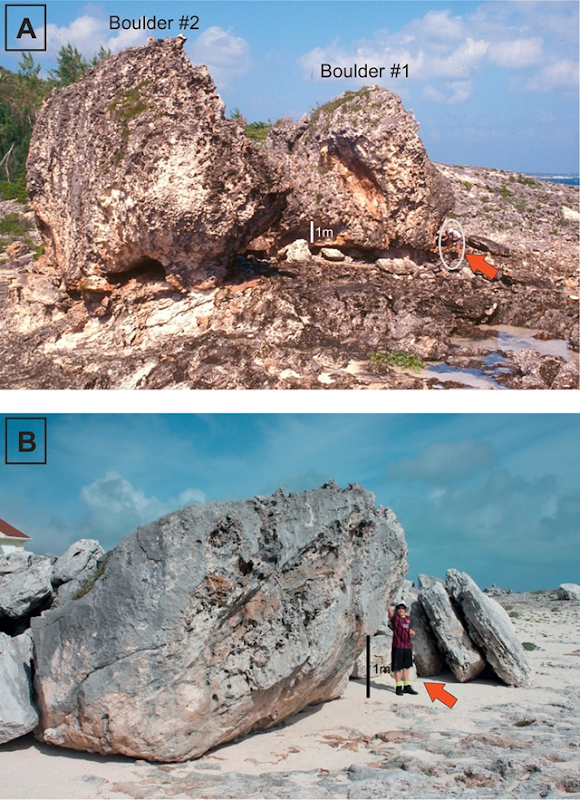 A comparison of (A) Pleistocene megaboulders #1 (Bull) and #2 (Cow) at North Eleuthera, the Bahamas, emplaced by large waves at the end of the last interglacial. (B) Smaller Holocene and historically wave-transported boulders along Whale Point (0.25 to 1.0 km); several boulders show significant movement over the past decades during which time no tsunami of any significance are known to have occurred. Photo: Hearty and Tormey, 2017 / Marine Geology