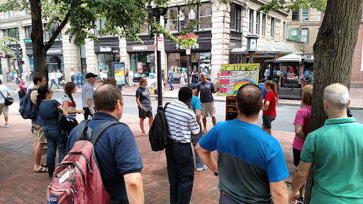 Eric sharing the gospel in the open air in Downtown Boston.
