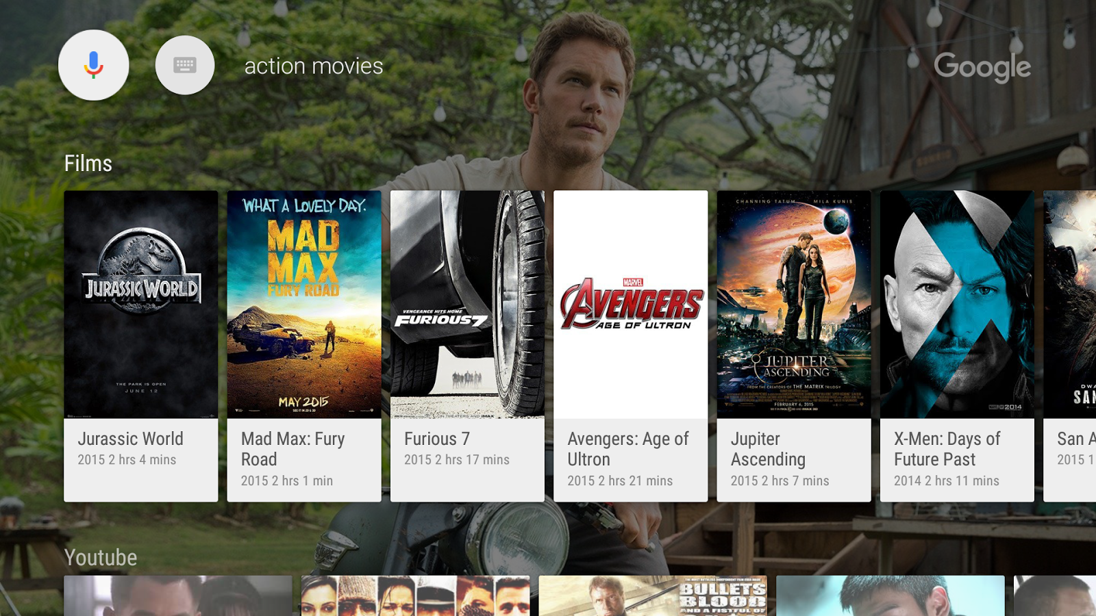 Google app for Android TV- screenshot