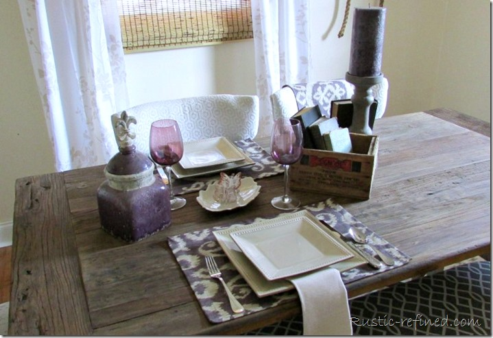 Rustic Table Setting using ikat placemats, pier 1 dishes and items from around the house, sets the perfect summer table