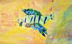 Tissue Paper Collage  Bird by Alex