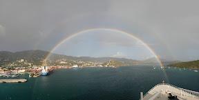 Double rainbow in Saint Thomas panorama