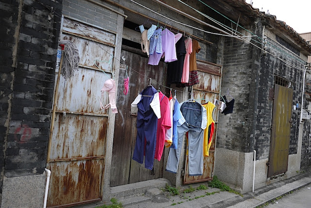 clothes hanging in Beishan Village, Zhuhai, China