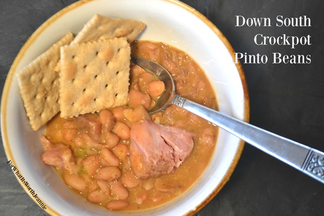 bowl of crock pot pinto beans